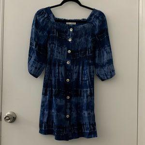 ZARA Tie Dye Button Front Dress